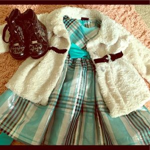 Gorgeous plaid dress, with fluffy jacket, boots
